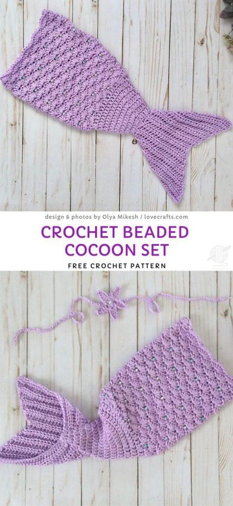Crochet Beaded Cocoon Set Free Pattern