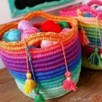 How to Crochet Basket with Rainbow Colors