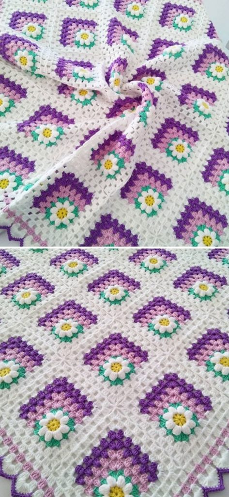 Mitered Summer Daisy Baby Afghan