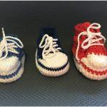 Converse Sneaker Styled Crochet Baby Booties Free Written Pattern