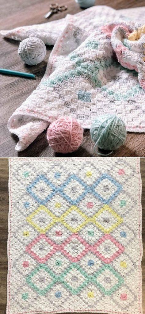 Square Diamond Baby Blanket