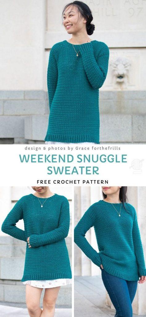 Weekend Snuggle Sweater Free Crochet Pattern