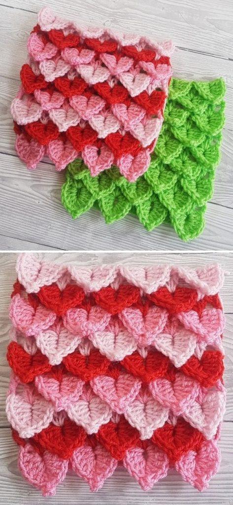 Pointy Crocodile Stitch Washcloths