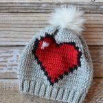 8-Bit Heart Crochet  Banie Slouchy