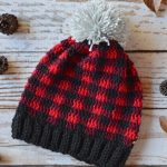 Women Plaid Slouchy Crochet Hat
