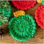 Christmas Ornament Crochet Coasters with Free Pattern
