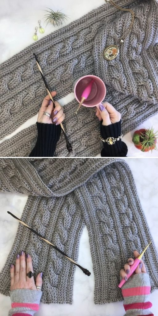 Twisted Twin Cable Scarf