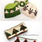Reindeer Crochet Hat and Christmas Tree Graph Headband with Free Patterns