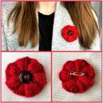 Ribbed Knit Poppy Brooch