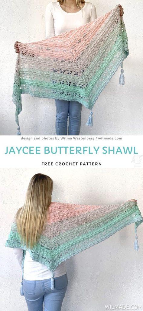 Jaycee Butterfly Shawl Free Crochet Pattern