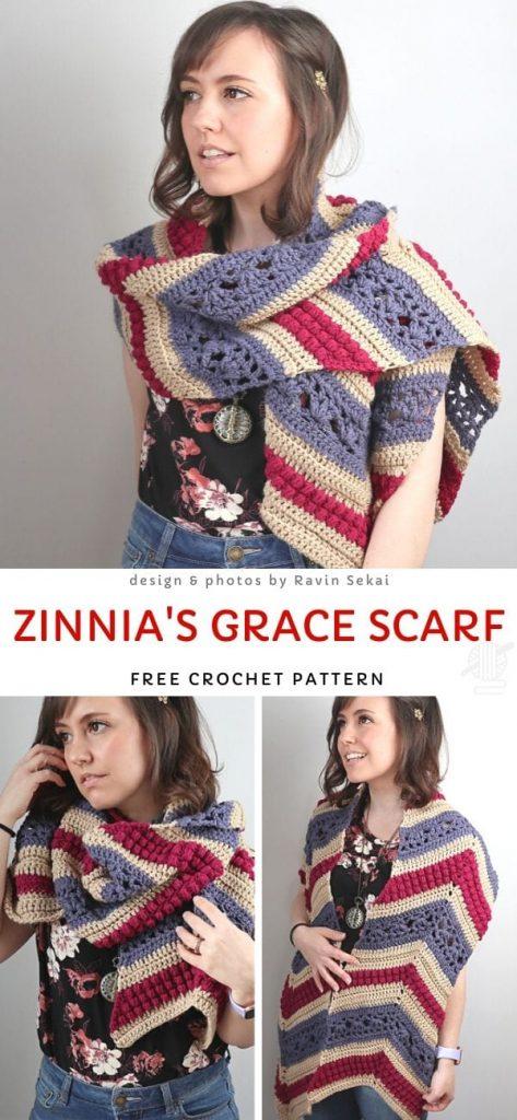 Zinnia's Grace Scarf Free Crochet Pattern