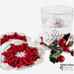 Poinsettia Crochet Coasters with Free Pattern