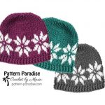 Snowflake Crochet Hat with Free Pattern