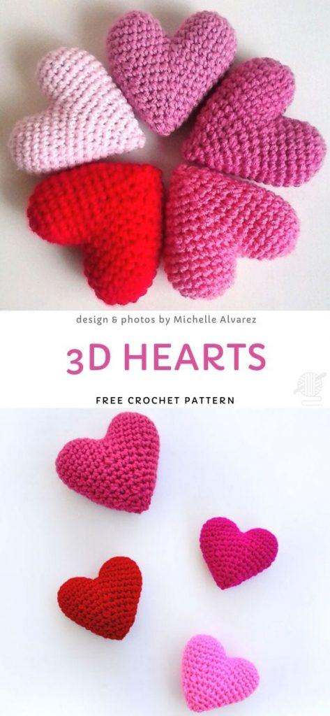 3D Hearts Free Pattern