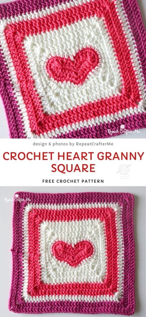 Crochet Heart Granny Square Free Crochet Pattern