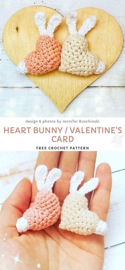 Heart Bunny : Valentine's card Free Pattern
