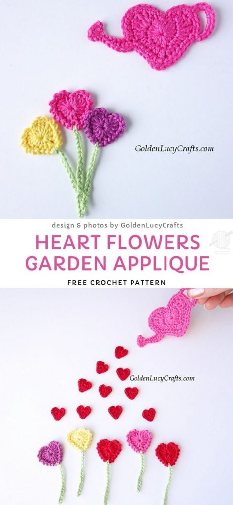 Heart Flowers Garden Applique Free Pattern