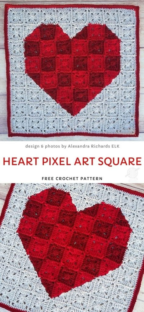 Heart Pixel Art Square Crochet Pattern