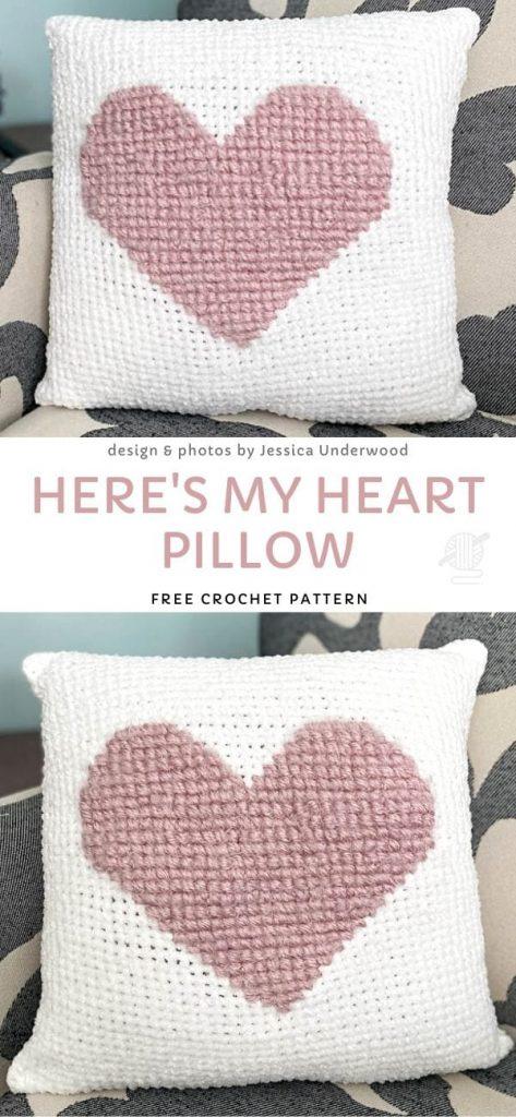Here's My Heart Pillow Free Crochet Pattern