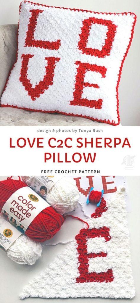 Love C2C Sherpa Pillow Free Crochet Pattern