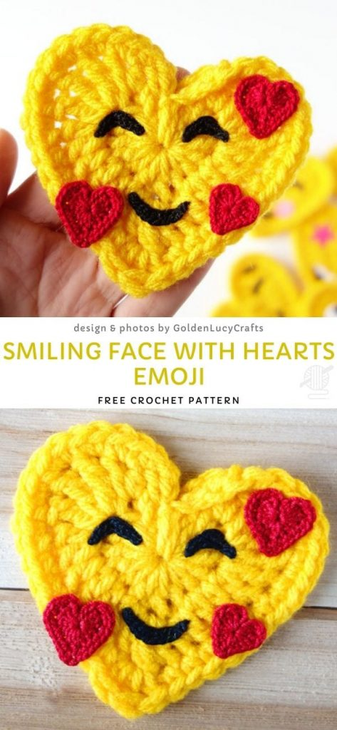 Smiling Face With Hearts Emoji Free Crochet Pattern_1