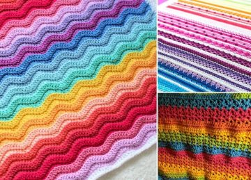 Sweet Rainbow Crochet Baby Blankets