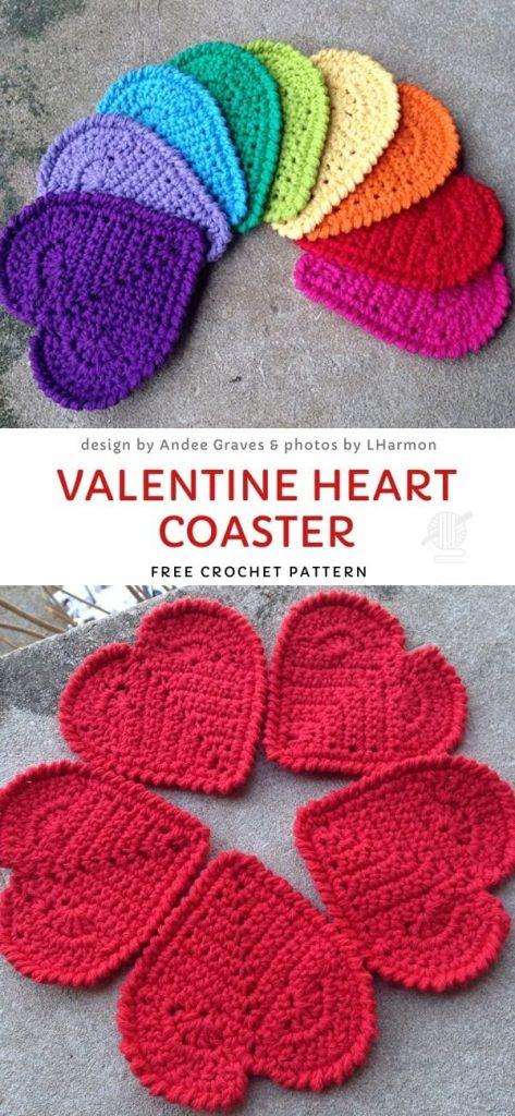 Valentine Heart Coaster Free Crochet Pattern