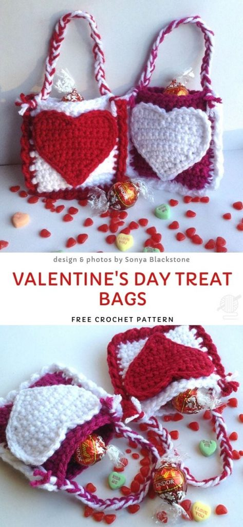 Valentine's Day Treat Bags Free Crochet Pattern