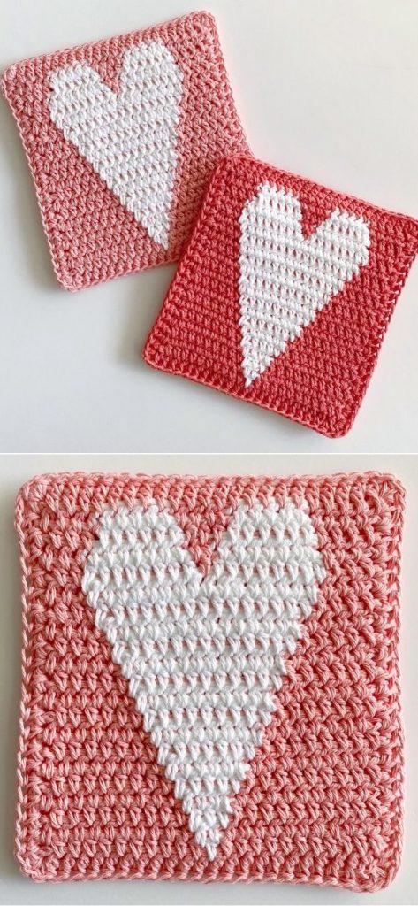 Crochet Skinny Heart Hot Pad