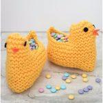 Easter Chick Knit Basket Free