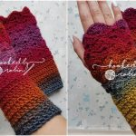 Fantail Stitch Fingerless Crochet Gloves FREE
