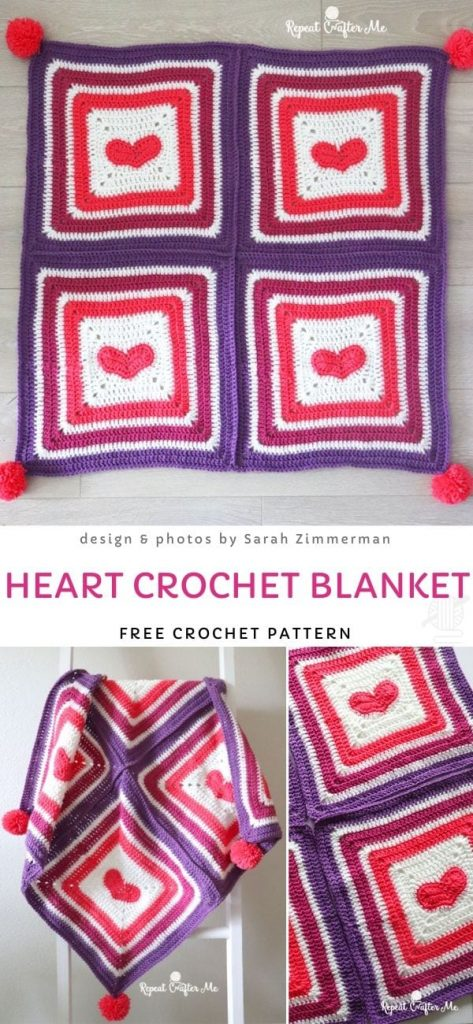 Heart Crochet Blanket Free Pattern