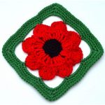 Field Poppy Granny Square 3D Effect Crochet Pattern Free