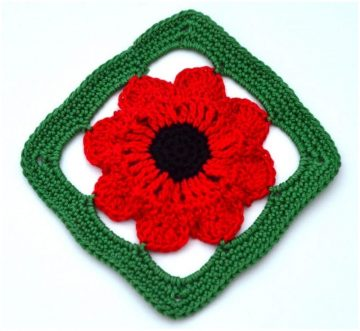 easy and beautiful crochet . field poppy granny square for beginners