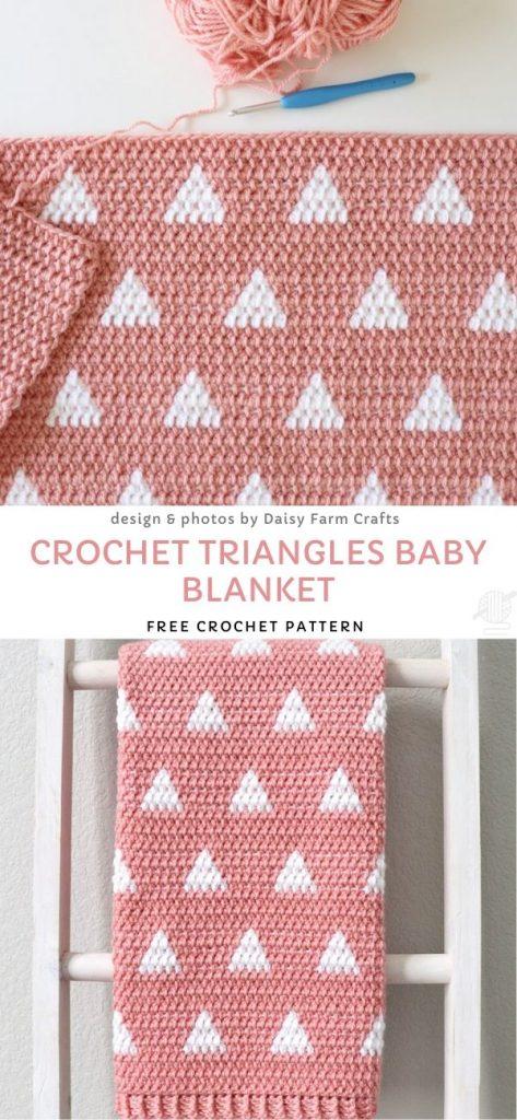 Crochet Triangles Baby Blanket Free Crochet Pattern
