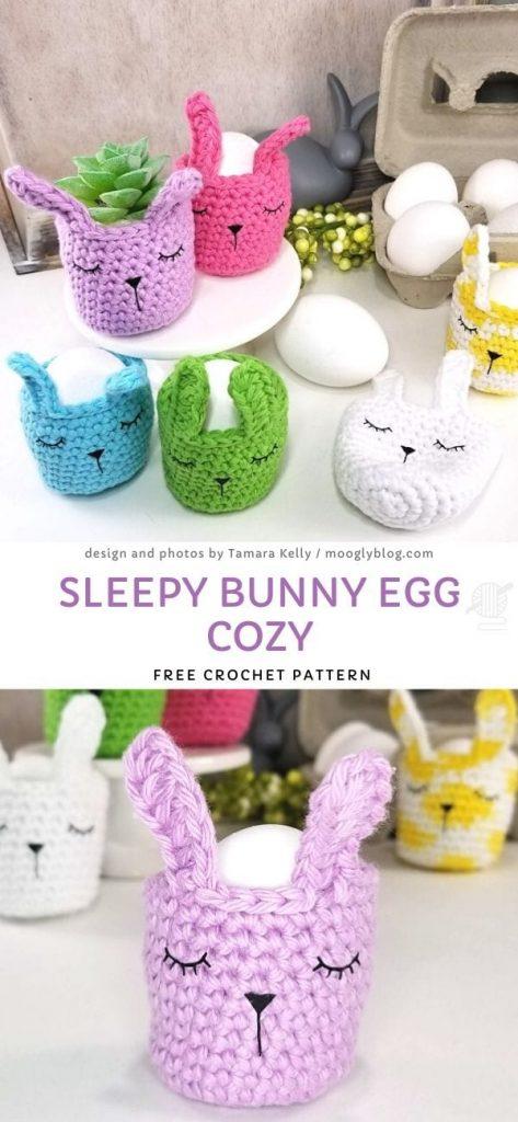Sleepy Bunny Egg Cozy Free Crochet Pattern