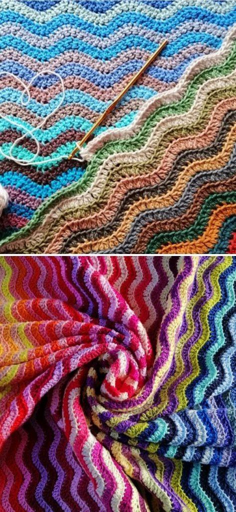 Rainbow Sea Waves Blanket