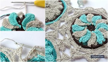 Crochet flower hexagon with free easy pattern