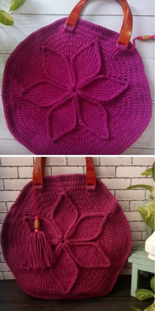 Handbag with textured flower