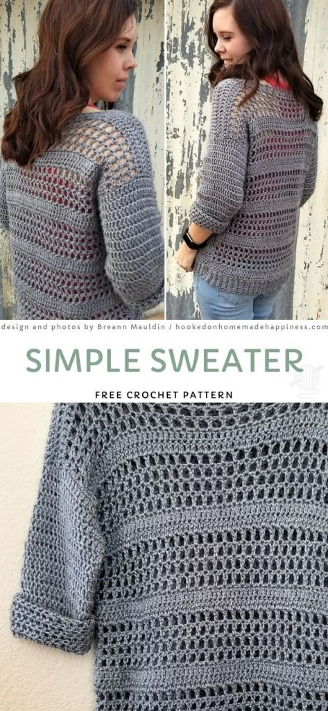 grey crochet sweater