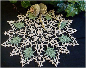 Amazing Crocheted Green Leaf Beauty Doily Free Pattern