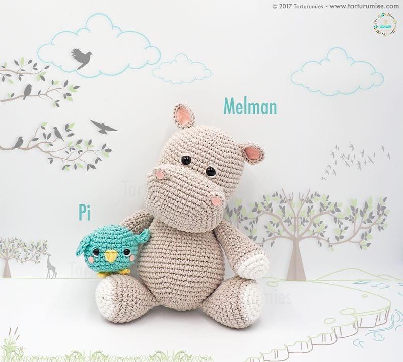 Hippo Melman and Pi Free Crochet Pattern