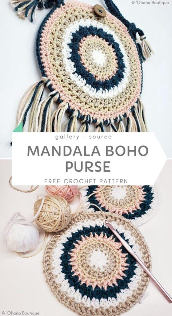 Mandala Boho Purse Free Crochet Pattern