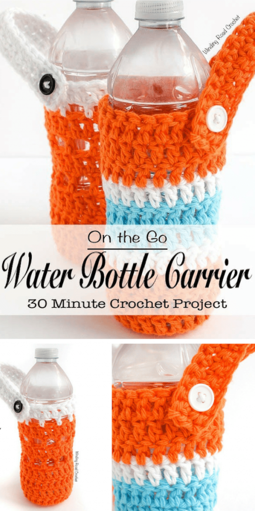 Cool Crocheted On-the-Go Water Bottle Carrier Free Pattern to never be without a bottle of water