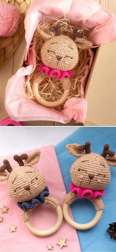 Deer baby rattle toy