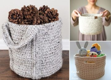 Neutral and Easy Crochet Baskets
