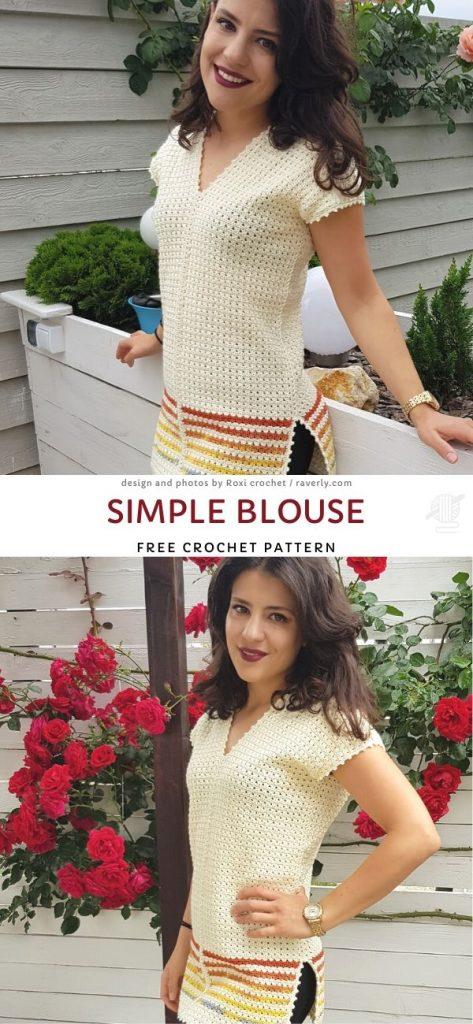 Simple Blouse Free Crochet Pattern