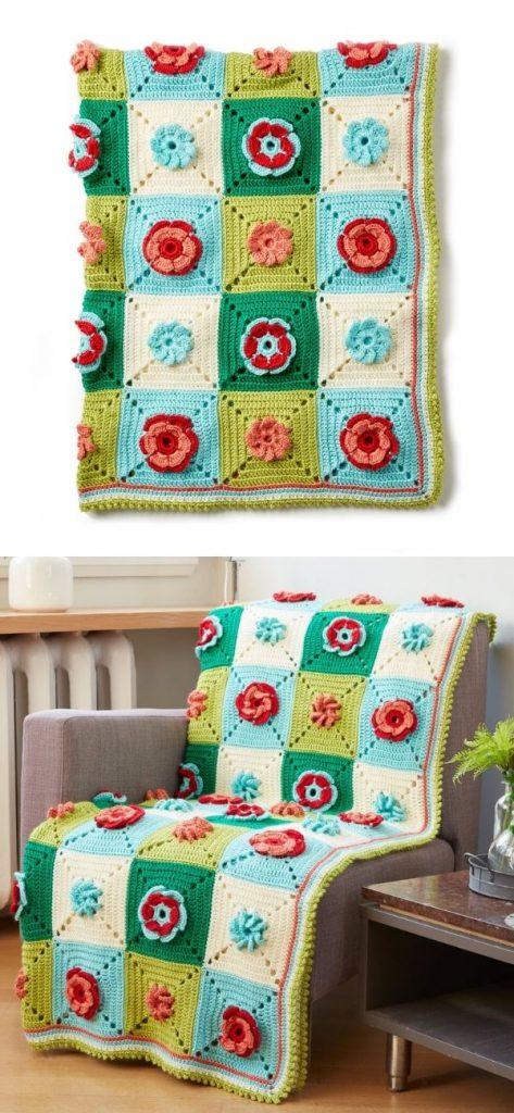 Caron Floral Granny Crochet Afghan