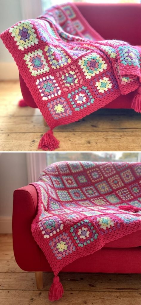 Strawberry Candy Squares Throw