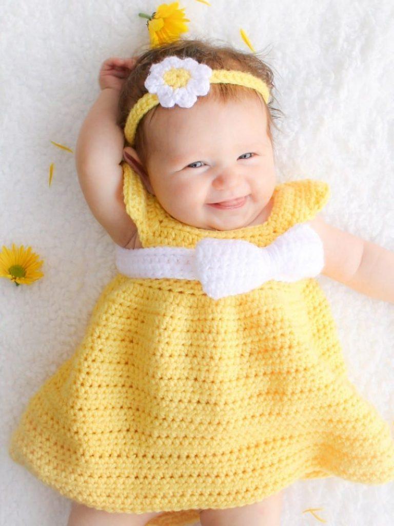 Simply Spring Crochet Baby Dress Free Pattern